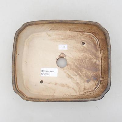 Keramische Bonsai-Schale 20 x 17 x 5,5 cm, braune Farbe - 3