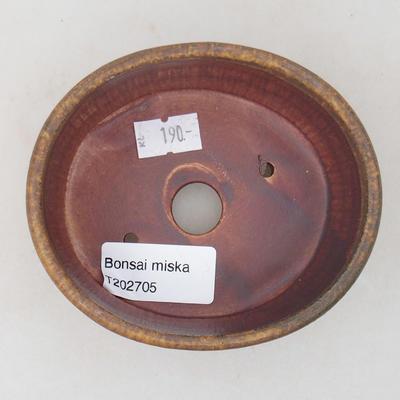 Keramische Bonsai-Schale 10,5 x 9 x 4,5 cm, braune Farbe - 3