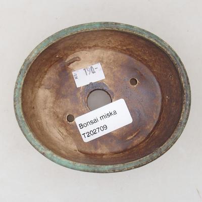 Keramische Bonsai-Schale 10,5 x 9 x 4,5 cm, Farbe grün - 3