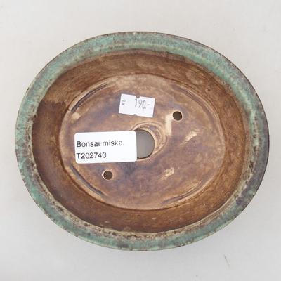 Keramische Bonsai-Schale 14 x 12 x 3,5 cm, Farbe grün - 3