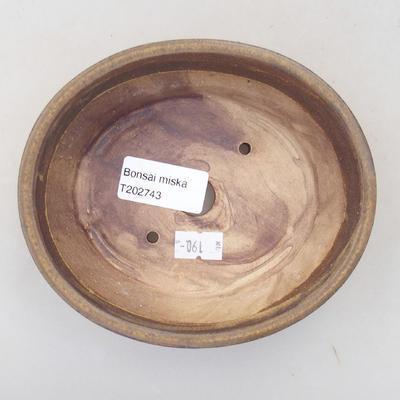 Keramische Bonsai-Schale 14 x 12 x 3,5 cm, braune Farbe - 3