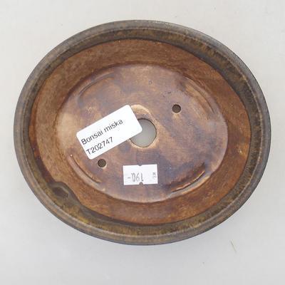 Keramische Bonsai-Schale 14 x 12 x 3,5 cm, Farbe braun - 3