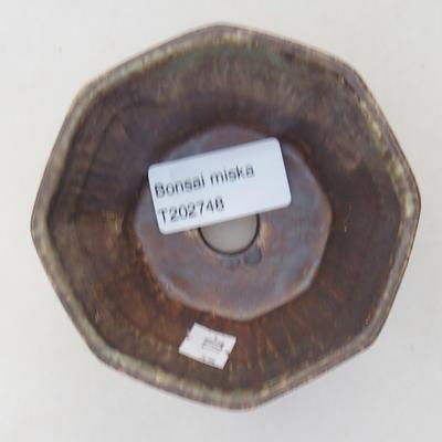 Keramische Bonsai-Schale 8,5 x 8,5 x 5,5 cm, braune Farbe - 3