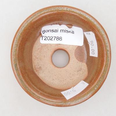 Keramische Bonsai-Schale 8 x 8 x 3 cm, Farbe braun-grün - 3