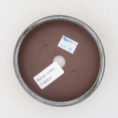 Keramik-Bonsaischale 10 x 10 x 3,5 cm, braun-grüne Farbe - 3