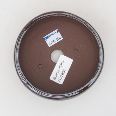 Keramik-Bonsaischale 11 x 11 x 4,5 cm, braun-grüne Farbe - 3