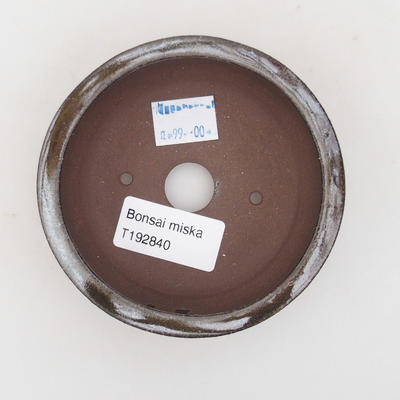 Keramik Bonsaischale 10 x 10 x 3 cm, braun-grüne Farbe - 3