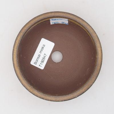 Keramik Bonsai Schüssel 10 x 10 x, 3,5 cm, braune Farbe - 3