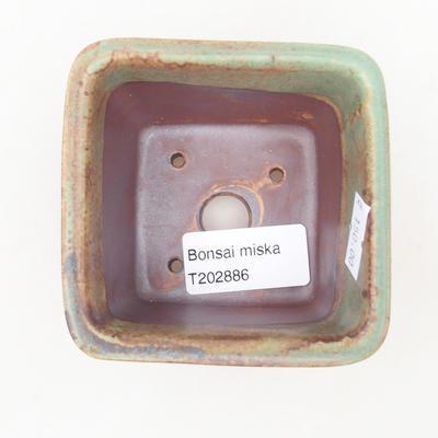 Keramische Bonsai-Schale 8,5 x 8,5 x 5 cm, Farbe braun-grün - 3