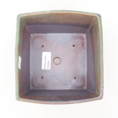 Keramische Bonsai-Schale 16 x 16 x 11 cm, Farbe braun-grün - 3