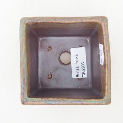 Keramische Bonsai-Schale 7,5 x 7,5 x 8,5 cm, Farbe braun-grün - 3