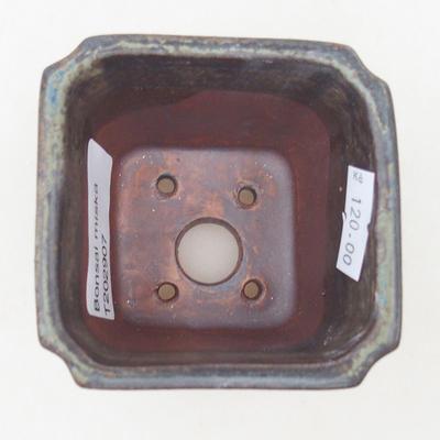 Keramische Bonsai-Schale 7 x 7 x 5,5 cm, braun-blaue Farbe - 3