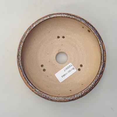 Keramische Bonsai-Schale 14,5 x 14,5 x 5 cm, braune Farbe - 3
