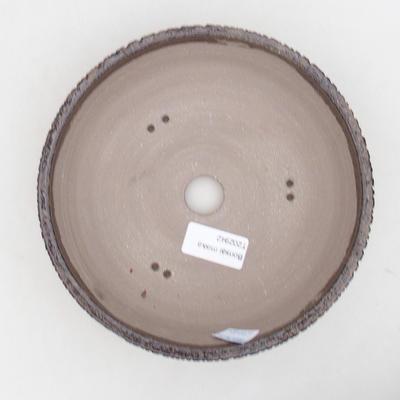 Keramische Bonsai-Schale 18 x 18 x 6 cm, Farbe braun - 3