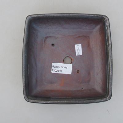 Keramische Bonsai-Schale 15 x 15 x 5,5 cm, Metallfarbe - 3