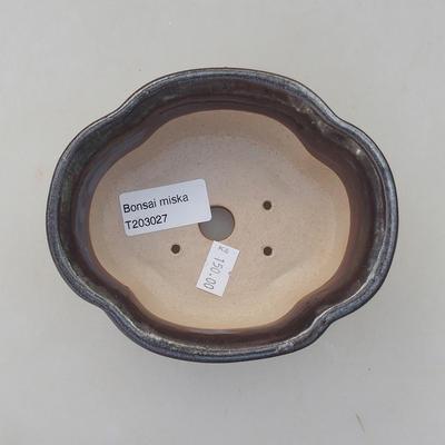 Keramik Bonsai Schüssel 13 x 11 x 5 cm, braune Farbe - 3