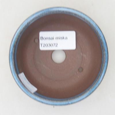 Keramische Bonsai-Schale 9 x 9 x 3,5 cm, Farbe blau - 3
