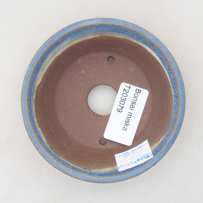 Keramische Bonsai-Schale 9 x 9 x 3 cm, Farbe blau - 3