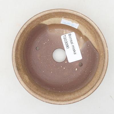 Keramische Bonsai-Schale 11,5 x 11,5 x 3 cm, beige Farbe - 3