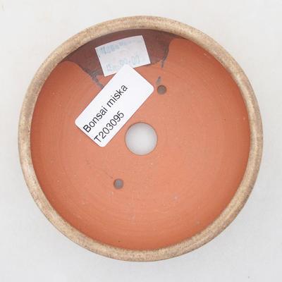 Keramik Bonsai Schüssel 10 x 10 x 3 cm, beige Farbe - 3