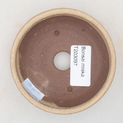 Keramik Bonsai Schüssel 9 x 9 x 3 cm, beige Farbe - 3