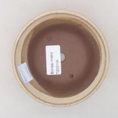 Bonsai-Keramikschale 11 x 11 x 4,5 cm, beige Farbe - 3