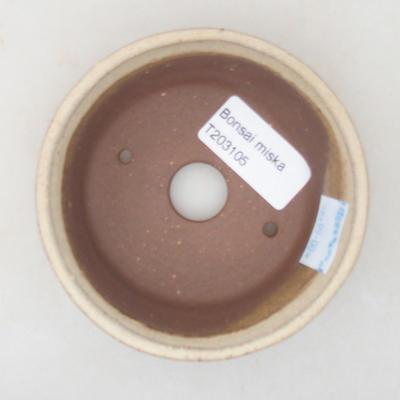 Keramische Bonsai-Schale 10 x 10 x 3,5 cm, beige Farbe - 3
