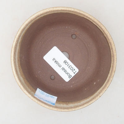 Keramik Bonsai Schüssel 10 x 10 x 3,5 cm, beige Farbe - 3