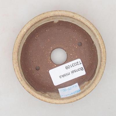 Keramische Bonsai-Schale 9 x 9 x 2,5 cm, beige Farbe - 3