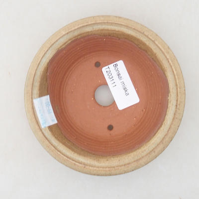 Keramische Bonsai-Schale 11,5 x 11,5 x 3,5 cm, beige Farbe - 3