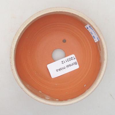 Keramik Bonsai Schüssel 10 x 10 x 5 cm, beige Farbe - 3