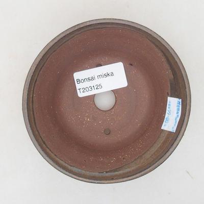 Keramische Bonsai-Schale 10,5 x 10,5 x 5 cm, braune Farbe - 3