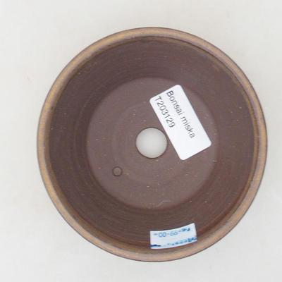 Keramische Bonsai-Schale 11 x 11 x 4,5 cm, braune Farbe - 3