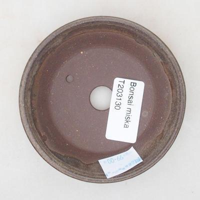 Keramische Bonsai-Schale 9 x 9 x 2 cm, braune Farbe - 3