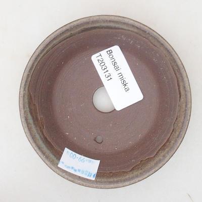 Keramische Bonsai-Schale 9,5 x 9,5 x 2,5 cm, Farbe braun - 3