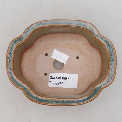 Keramik Bonsai Schüssel 13 x 10 x 5 cm, Farbe grau-rostig - 3