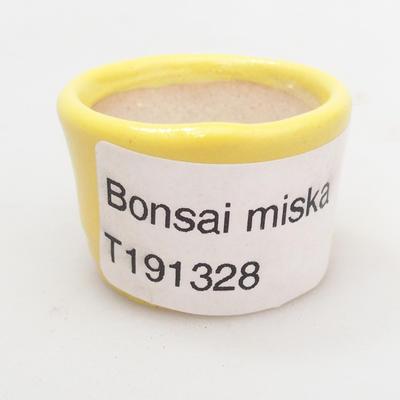 Mini Bonsai Schüssel 3 x 3 x 2,5 cm, gelbe Farbe - 3