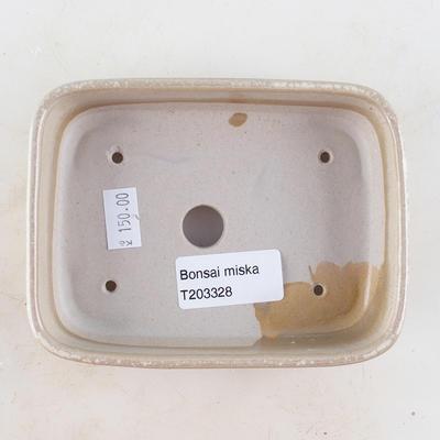 Keramische Bonsai-Schale 13 x 9,5 x 3 cm, beige Farbe - 3