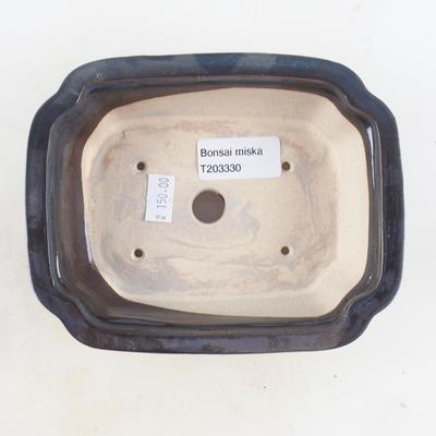 Keramische Bonsai-Schale 16 x 12,5 x 4,5 cm, braun-blaue Farbe - 3
