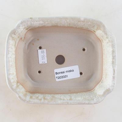 Keramische Bonsai-Schale 16 x 12,5 x 4,5 cm, beige Farbe - 3