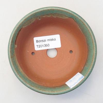 Keramik Bonsaischale 10 x 10 x 2,5 cm, Farbe grün - 3