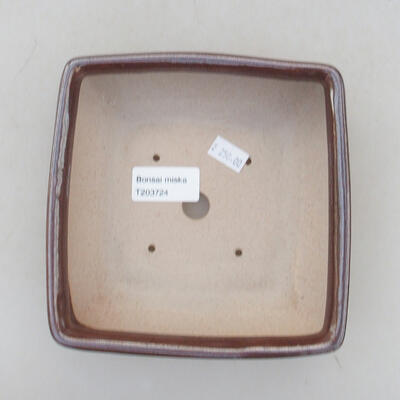 Keramische Bonsai-Schale 15 x 15 x 5,5 cm, braune Farbe - 3