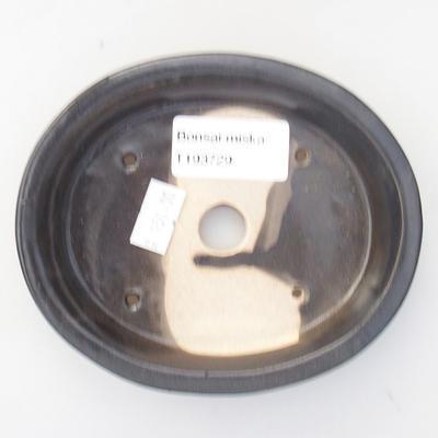 Keramik Bonsai Schüssel 12,5 x 10,5 x 2 cm, Metallfarbe - 3
