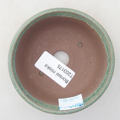 Keramische Bonsai-Schale 9,5 x 9,5 x 2,5 cm, Farbe grün - 3