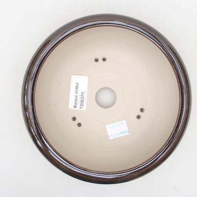 Keramische Bonsai-Schale 15 x 15 x 6 cm, Farbe braun - 3