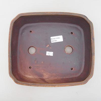Keramische Bonsai-Schale 24 x 21 x 6,5 cm, braune Farbe - 3
