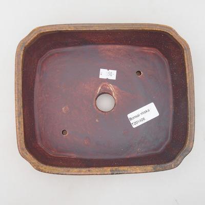 Keramische Bonsai-Schale 20,5 x 17,5 x 6 cm, braune Farbe - 3