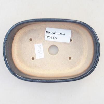 Keramische Bonsai-Schale 12,5 x 9 x 3,5 cm, Farbe blau - 3