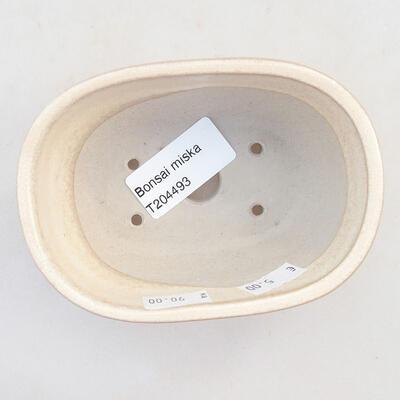 Keramische Bonsai-Schale 11,5 x 8 x 5 cm, beige Farbe - 3
