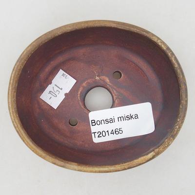 Keramische Bonsai-Schale 9,5 x 8,5 x 3,5 cm, Farbe braun-grün - 3